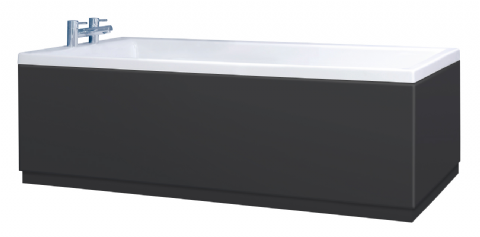 Low Level Matt Black Bath Panels with Plinths